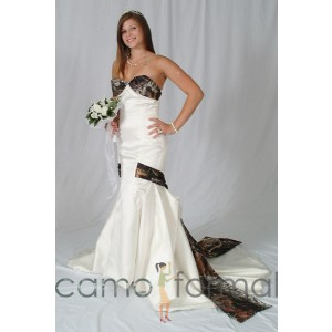 "* 3030 ""Lia"" Mermaid Wedding Gown with Camo Bodice, Drop Sash"