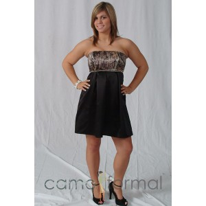*HC 3988, Short Strapless Empire Box Pleat