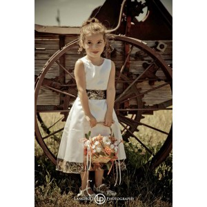 5151 Girls Tea Length with Trimmed Hem and Sash