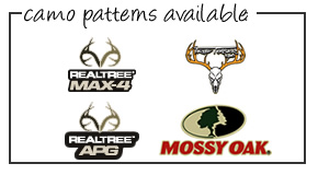 Camo Mossy Oak New Breakup, Mossy Oak Winter, Realtree APG, Realtree MAX-4, Realtree AP Snow, Realtree AP Pink, True Timber Snowfall