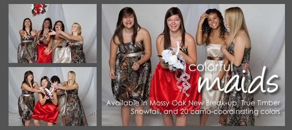 Camouflage wedding and bridesmaids gifts and dresses